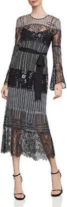 BCBGMAXAZRIA Metallic Lace Midi Dress