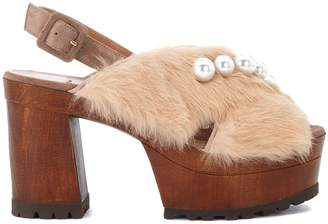 L'Autre Chose Tobacco Suede Clogs With Pale Pink Lapin And Pearls