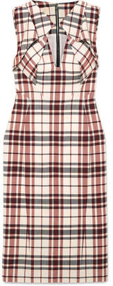 Antonio Berardi Folded Checked Wool And Mohair-blend Dress - Red