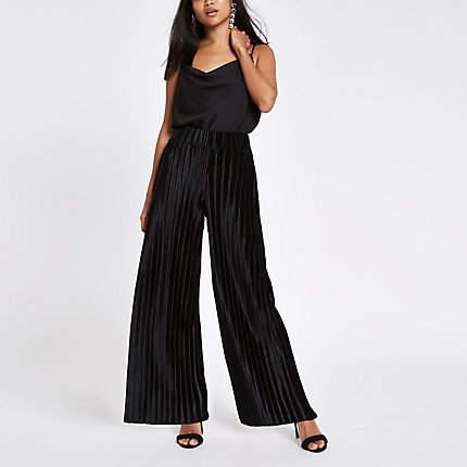 Womens Petite Black plisse wide leg trousers