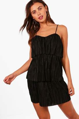 boohoo Petite Tiered Pleated Dress