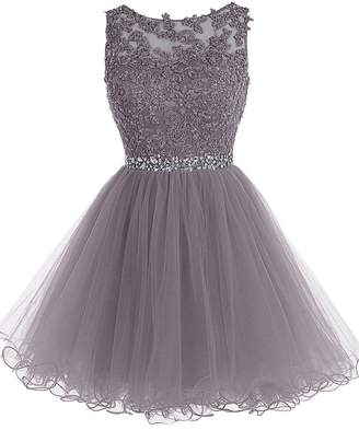 JAEDEN Short Homecoming Dress Lace Tulle Cocktail Party Dress Open Back Prom Gown