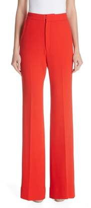 Lela Rose Maggie Wool Blend Crepe Flare Trousers