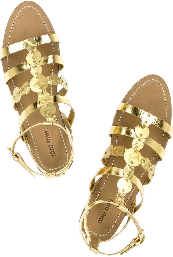 Miu Miu Metallic gladiator sandals