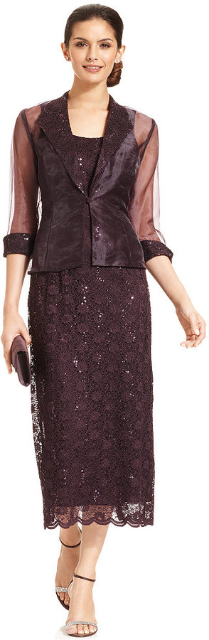 R & M Richards R&M Richards Sleeveless Sequined Lace Dress and Jacket