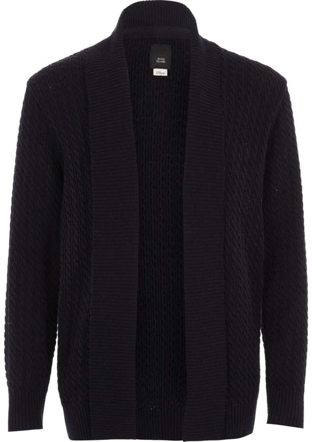 Boys Navy cable knit open front cardigan
