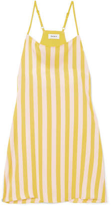 DKNY Walk The Line Striped Satin Chemise - Chartreuse