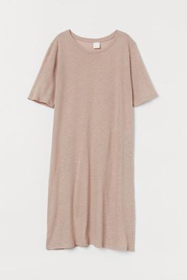 H&M Linen-blend T-shirt Dress - Beige