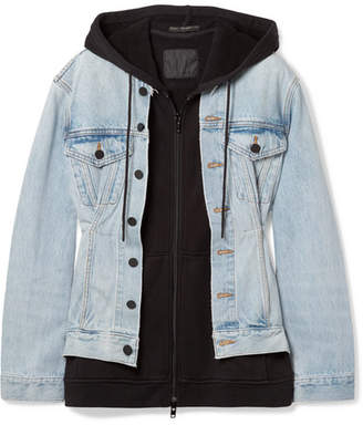Alexander Wang Joint Mix Hooded Layered Cotton-jersey And Denim Jacket