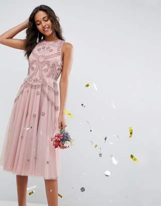 Asos DESIGN Bridesmaid iridescent delicate beaded open back skater midi dress