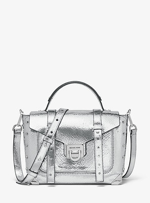 Michael Kors Manhattan Medium Crackled Metallic Leather Satchel