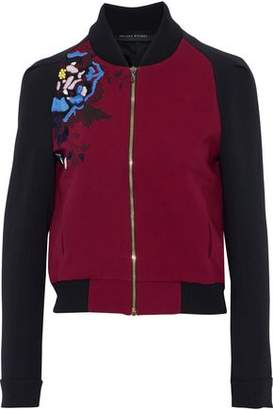 Roland Mouret Rushenden Embroidered Crepe Bomber Jacket