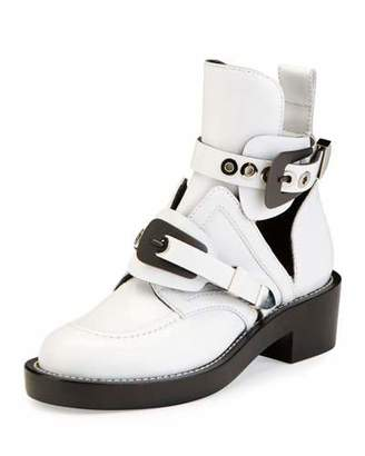 Balenciaga Buckle Leather 35mm Bootie, Blanc $1,275 thestylecure.com