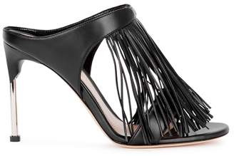 Alexander McQueen Black Fringed Leather Mules