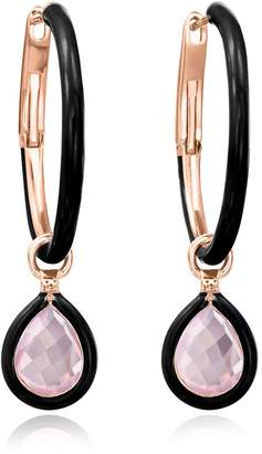 74fd3947f Nina Runsdorf Mini Rose Gold and Rose Quartz The Artist Flip Charm Hoop  Earrings