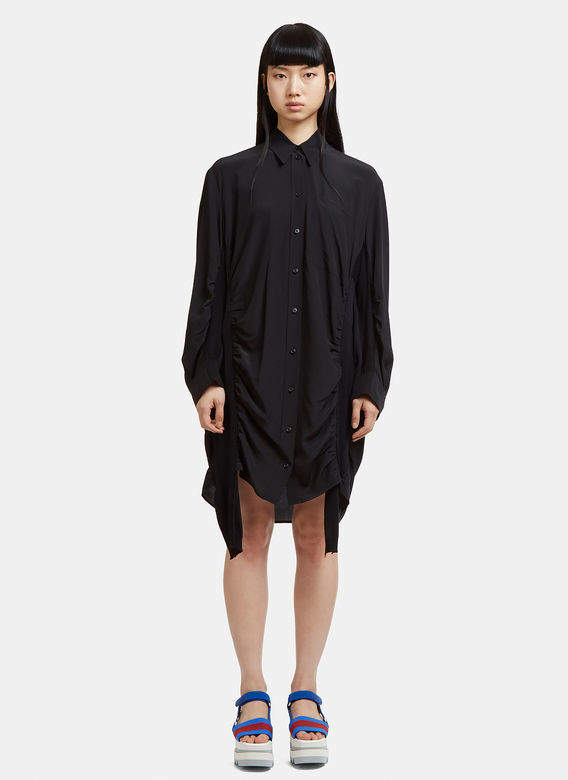 Semi Sheer Patchwork Knit Dress in Black