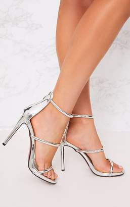 PrettyLittleThing Marthea Silver Tube Strap Heeled Sandals