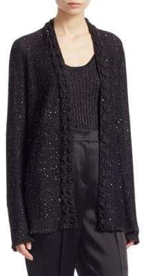 Emporio Armani Sequin Knit Open Cardigan