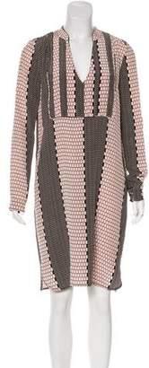 Tibi Printed Long-sleeve Dress