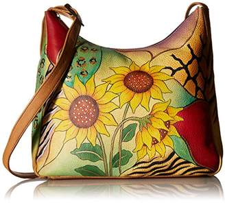 Anuschka Anna by Genuine Leather Hobo Shoulder Bag | Hand Painted Original Artwork |