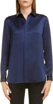 Saint Laurent Leather Collar Silk Shirt