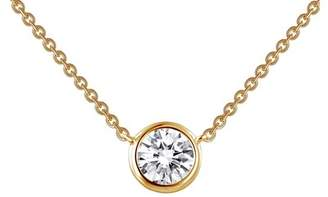 Lafonn 18K Gold Plated Sterling Silver Bezel Set Solitaire Simulated Diamond Necklace