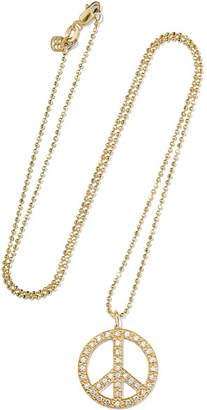 Sydney Evan Peace Sign Large 14-karat Gold Diamond Necklace