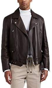 Brunello Cucinelli MEN'S LEATHER INSULATED MOTO JACKET - DK. BROWN SIZE XXL