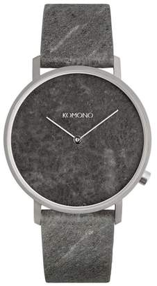 Komono The Lewis Slate Leather Strap Watch, 40mm