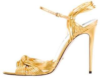 Gucci 2016 Allie Metallic Crossover Sandals