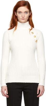 Balmain Off-White Rib Knit Turtleneck