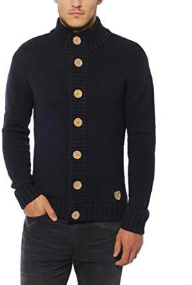 Lower East Men's Cardigan with natural wooden buttons,L