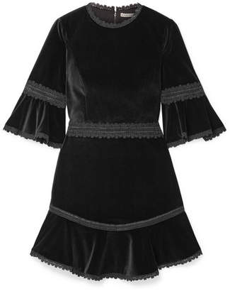 Alice + Olivia Alice Olivia - Doloris Fluted Lace-trimmed Velvet Mini Dress - Black
