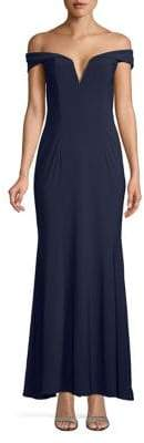 Xscape Evenings Classic Cap-Sleeve Maxi Dress
