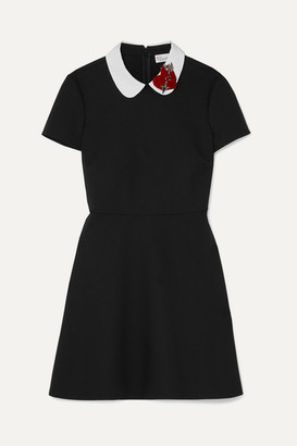 RED Valentino Embellished Velvet-appliquéd Cady Mini Dress - Black