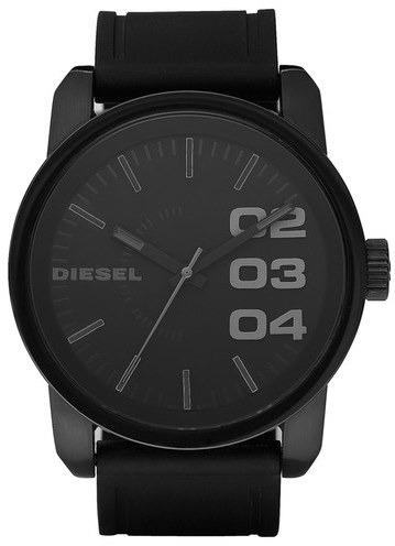Diesel 'Double Down' Round Silicone Strap Watch, 45mm