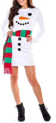 Tipsy Elves Snowman Scarf Sweater Dress