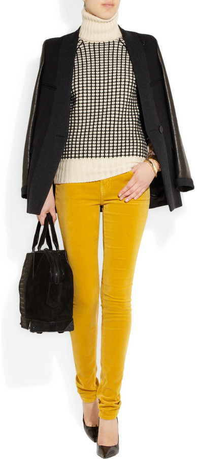 Current/Elliott The Skinny low-rise stretch-velvet jeans