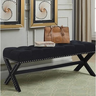 House of Hampton Hafer Tufted Nailhead Upholstered Bench House of Hampton