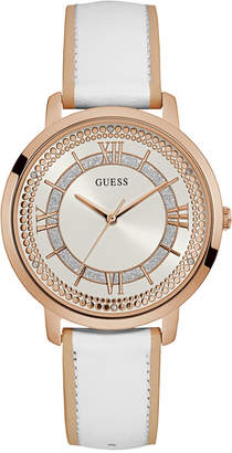 GUESS Women's White Leather Strap Watch 40mm U0934L1 $105 thestylecure.com
