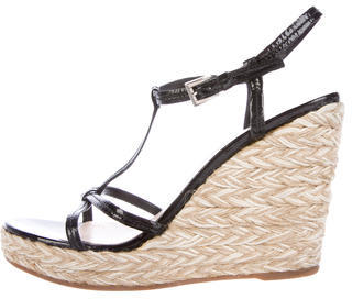 prada Prada Espadrille Wedge Sandals