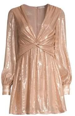 Ramy Brook Elsie Plunging Shimmer Mini Dress
