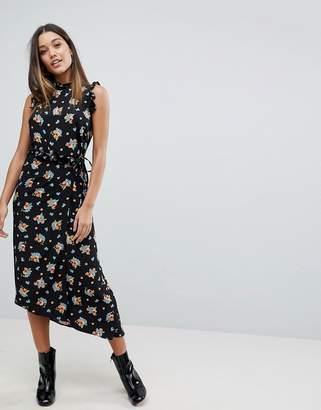 Asos DESIGN Midi Tea Dress in Dark Floral