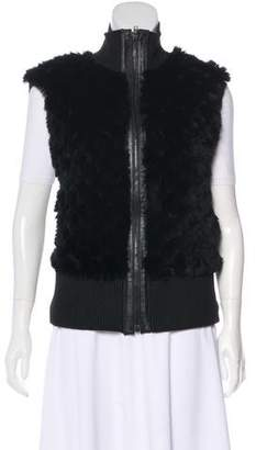 Glamour Puss Glamourpuss Fur-Trimmed Knit Vest
