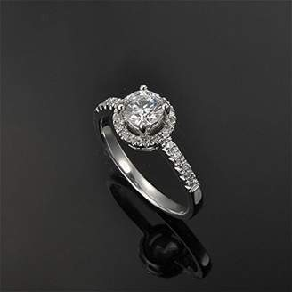 JeenJewels 1.17 Carat Halo Wedding ring for sale with Round cut Diamond on 14K White gold