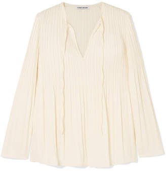 Elizabeth and James Jade Pleated Crepe De Chine Blouse - Off-white