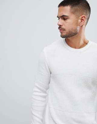 Bershka Muscle Fit Knitted Sweater In White