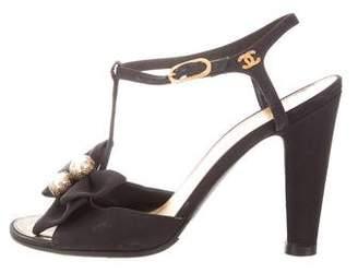 Chanel Embellished T-Strap Sandals