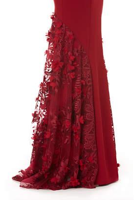 Carmen Marc Valvo Cap-Sleeve Crepe Trumpet Gown with 3D Floral Mesh Detail