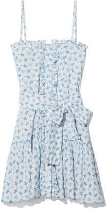 Lisa Marie Fernandez Cornflower and Cream Ruffle Slip Dress